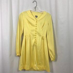 Vintage 60s Yellow Mod Babydoll Mini Dress S